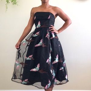 For The Birds Black Strapless Prom Dress